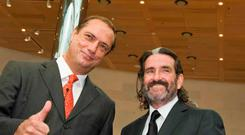 TREASURY MEN: Richard Barrett and Johnny Ronan at the Dublin Convention Centre.