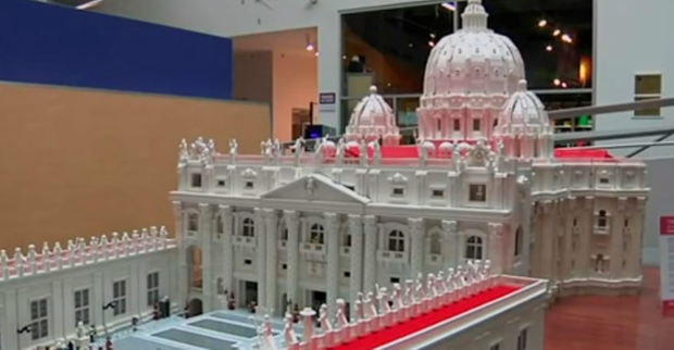 Father Bob Simon spent about 10 months constructing a mini St. Peter's Basilica and St. Peter's Square