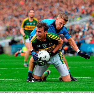Donnchadh Walsh, Kerry, in action against Jonny Cooper, Dublin. GAA Football All-Ireland Senior Championship Final, Dublin v Kerry, Croke Park, Dublin