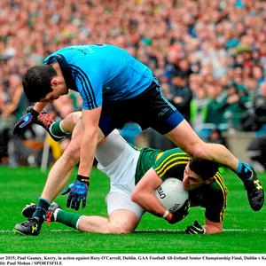 Paul Geaney, Kerry, in action against Rory O'Carroll, Dublin. GAA Football All-Ireland Senior Championship Final, Dublin v Kerry, Croke Park, Dublin