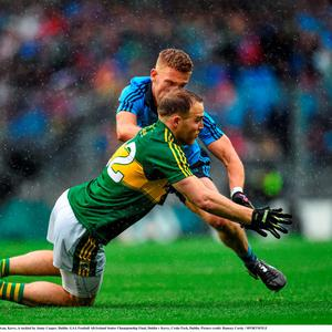 Darran O'Sullivan, Kerry, is tackled by Jonny Cooper, Dublin. GAA Football All-Ireland Senior Championship Final, Dublin v Kerry, Croke Park, Dublin