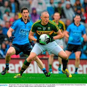 Kieran Donaghy, Kerry, in action against Rory O'Carroll, Dublin. GAA Football All-Ireland Senior Championship Final, Dublin v Kerry, Croke Park, Dublin