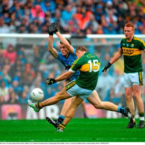 James O'Donoghue, Kerry, in action against Brian Fenton, Dublin. GAA Football All-Ireland Senior Championship Final, Dublin v Kerry, Croke Park, Dublin