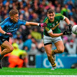 James O'Donoghue, Kerry, is tackled by Jonny Cooper, Dublin. GAA Football All-Ireland Senior Championship Final, Dublin v Kerry, Croke Park, Dublin