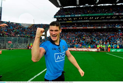 Diarmuid Connolly, Dublin, celebrates his side's All-Ireland final victory over Kerry in September. Picture credit: Ray McManus / SPORTSFILE