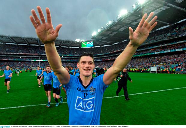 20 September 2015; Diarmuid Connolly, Dublin, celebrates his side's victory. GAA Football All-Ireland Senior Championship Final, Dublin v Kerry, Croke Park, Dublin. Picture credit: Stephen McCarthy / SPORTSFILE