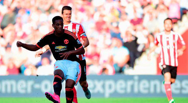 Anthony Martial of Manchester United scores his and his team's second goal during the Barclays Premier League match between Southampton and Manchester United at St Mary's Stadium on September 20, 2015 in Southampton
