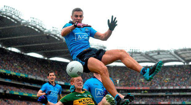 James McCarthy, Dublin, in action against Colm Cooper, Kerry. GAA Football All-Ireland Senior Championship Final, Dublin v Kerry, Croke Park, Dublin