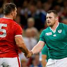 Cian Healy shakes hands with Canada's Jamie Cudmore after the game