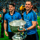 20 September 2015; Alan Brogan and his brother Bernard, Dublin, celebrate at the end of the game. GAA Football All-Ireland Senior Championship Final, Dublin v Kerry, Croke Park, Dublin. Picture credit: David Maher / SPORTSFILE