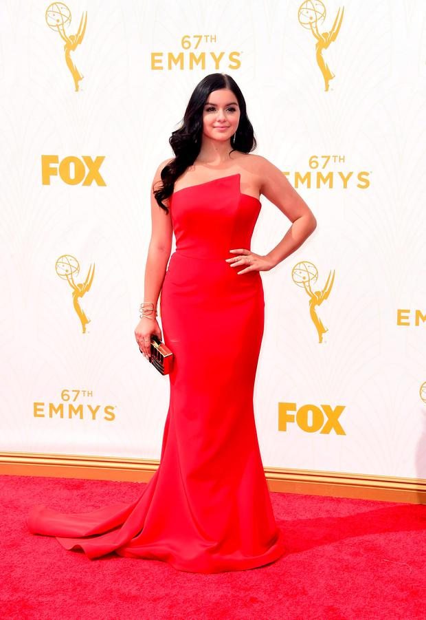 Thumbs up: Modern Family star Ariel Winter's curve hugging Romona Keveza gown hits all the right notes.
