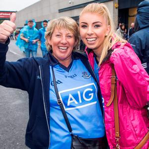 Croke Park, fans. Joan and Ruth Coady from Raheny.