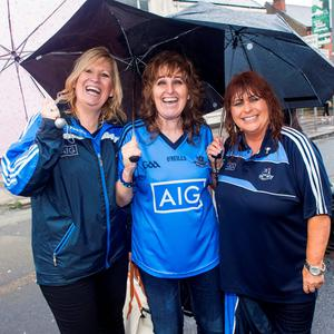 Croke Park, fans. Karen Delaney and Maria Robbins from Tallaght and Mary Ryan, Islandbridge.