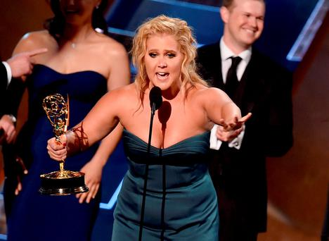 Actress/writer Amy Schumer accepts Outstanding Variety Sketch Series award for 'Inside Amy Schumer' onstage during the 67th Annual Primetime Emmy Awards