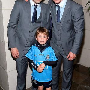 Dublin Players Alan Brogan , son Jamie and Phiily Ryan at the Gibson Hotel All Ireland Post Match Banquet at the Gibson Hotel ,Dublin Picture Brian mcEvoy No Repro fee for one use