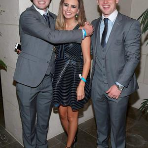 Dublin players Jack McCaffrey and Phiily McMahon with Sarah Lacey at the Gibson Hotel All Ireland Post Match Banquet at the Gibson Hotel ,Dublin Picture Brian mcEvoy No Repro fee for one use