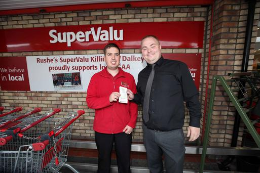 Manager Justin Gill and Luke McDonald pictured in Supervalu Killiney,Co Dublin where Winning lotto ticket was sold Credit: Stephen Collins/Collins Photos