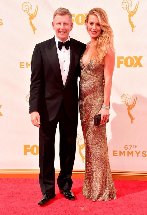 Comedian Patrick Kielty (L) and tv personality Cat Deeley attend the 67th Emmy Awards at Microsoft Theater on September 20, 2015 in Los Angeles, California. 25720_001 (Photo by Alberto E. Rodriguez/Getty Images for TNT LA)