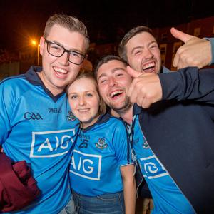 Fans celebrating on the streets of Dublin