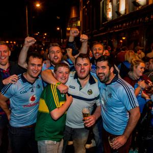 Fans celebrating on the streets last night