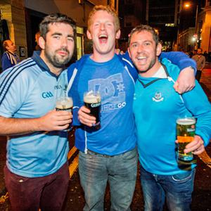 Fans celebrating on Poolbeg Street