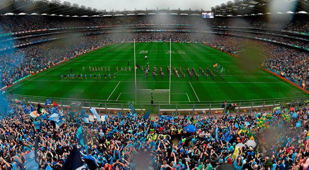 A general view of Croke Park during the pre-match parade