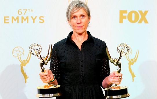 Actress Frances McDormand, winner of the award for Outstanding Lead Actress in a Limited Series or Movie for 'Olive Kitteridge' and the award for Outstanding Limited Series for 'Olive Kitteridge', poses in the press room at the 67th Annual Primetime Emmy Awards at Microsoft Theater on September 20, 2015 in Los Angeles, California. (Photo by Mark Davis/Getty Images)
