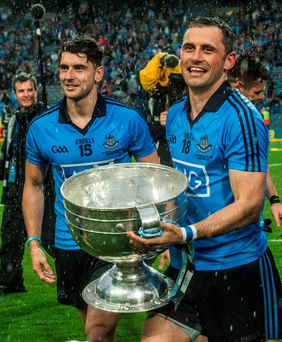 Alan Brogan and his brother Bernard, Dublin, celebrate at the end of the game.