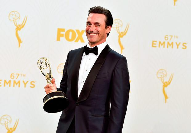 Jon Hamm with the award for outstanding lead actor in a drama series for Mad Men poses in the press room at the 67th Primetime Emmy Awards on Sunday, Sept. 20, 2015, at the Microsoft Theater in Los Angeles