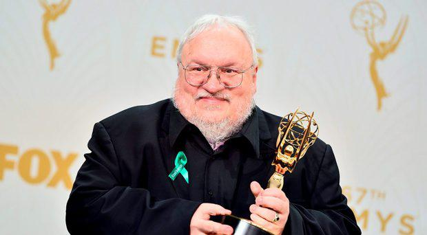 George R. R. Martin, winner of the award for outstanding drama series for