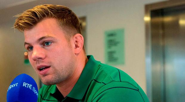 Ireland's Jordi Murphy is interviewed during a press conference. Ireland Rugby Press Conference, 2015 Rugby World Cup, St George's Park, Burton-upon-Trent, England. Picture credit: Brendan Moran / SPORTSFILE