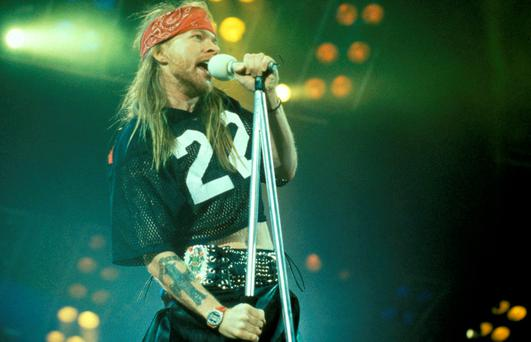 Axl Rose of Guns N' Roses performs on stage at the Freddie Mercury Tribute Concert, Wembley Stadium, London, 20th April 1992. (Photo by Michael Putland/Getty Images)