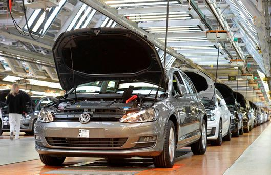 Volkswagen tumbled 20pc, dragging a measure of carmakers to its biggest two-day slump since 2008