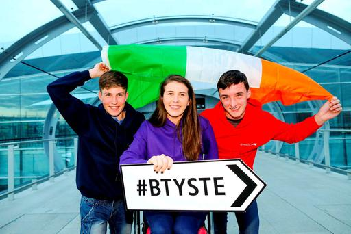 Mark O'Dowd, Glanmire Community College, Co Cork, with Eimear Murphy and Ian O'Sullivan from Coláiste Treasa, Kanturk, Co Cork, who were winners at the European Union Contest for Young Scientists in Italy. Photo: Maxwells