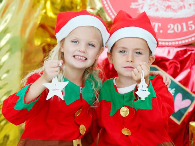 Eabha Scully (6) from Clontarf and Kyle Doyle (6) from Killester dress as Elfs as they help launch I BELIEVE Ireland`s first winter food, drink, craft and horticulture festival