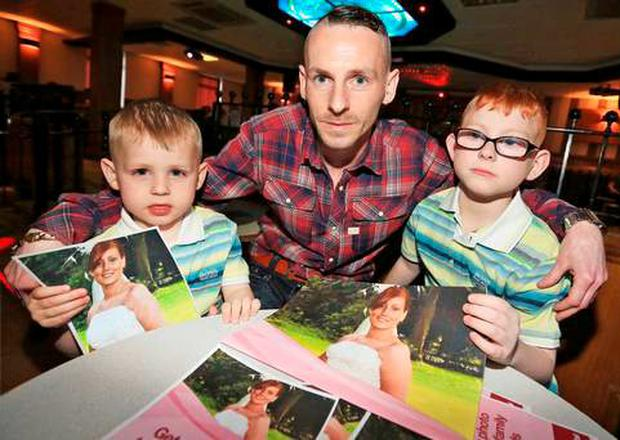 Tommy O'Hara and his two sons Thomas (9) and Aaron (3)