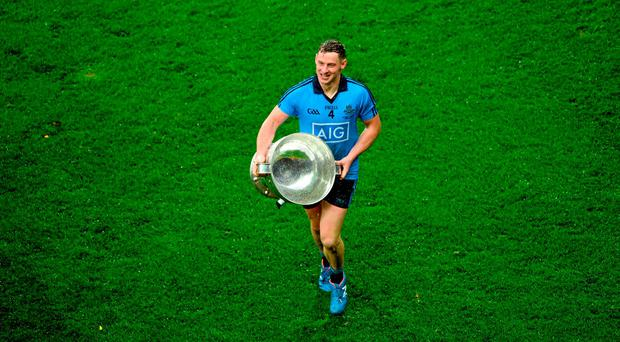 Philip McMahon, Dublin, celebrates with the Sam Maguire cup after the game. GAA Football All-Ireland Senior Championship Final, Dublin v Kerry, Croke Park, Dublin. Picture credit: D?ire Brennan / SPORTSFILE