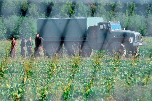 Hungarian soldiers are seen at its borders as work continues on a steel fence the Croatian-Hungarian border Credit: ELVIS BARUKC (Getty Images)