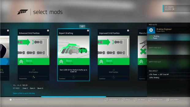 Forza Motorsport 6: Mods change the behaviour of the car or add XP