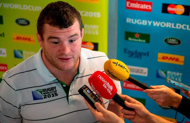 Ireland's Jack McGrath speaks to the media during a press conference. 2015 Rugby World Cup, Ireland Rugby Press Conference. St George's Park, Burton-upon-Trent, England. Picture credit: Brendan Moran / SPORTSFILE
