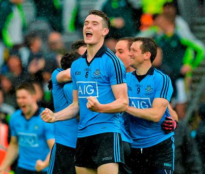 Brian Fenton celebrates winning the All-Ireland in his first season as a member of the Dublin senior panel SPORTSFILE