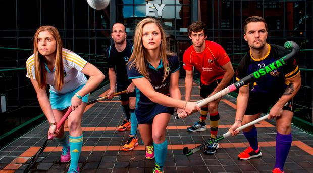 At the launch of the inaugural EY Hockey League are, left to right, Katie Mullan, Peter Caruth, Chloe Watkins, Matthew Bell and Alan Sothern