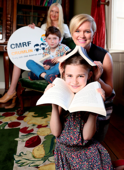 Authors Cecelia Ahern and Claudia Carroll along with Cillian Ó Mír (8) and Áine Ní Mhír (9) Picture Jason Clarke