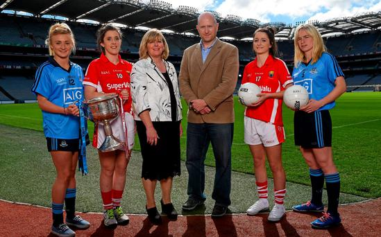 In attendence at a photocall ahead of the TG4 All-Ireland Junior, Intermediate and Senior Ladies Football Championship Finals are from left, senior finalists, Carla Rowe, Dublin, Cork captain Ciara O'Sullivan, Marie Hickey, President of the Ladies Gaelic Football Association, Ronan O'Coisdealbha, Head of Sport, TG4, Eimear Scally, Cork, and Sorcha Furlong, Dublin.
