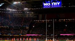 General view as a decision goes to the TMO during Saturday's game