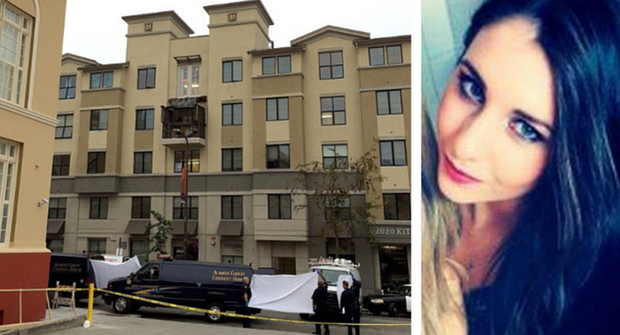 The scene of the tragedy in June in Berkeley, California and (right) Hannah Waters who has arrived home to Ireland
