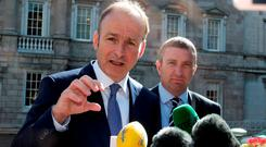 Fianna Fail leader Micheal Martin and Niall Collins, Justice spokesperson, ahead of the no confidence debate on Taoiseach Enda Kenny at Leinster House yesterday