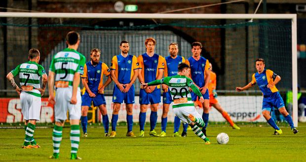Brandon Miele scores the only goal of the night from a freekick at Tallaght