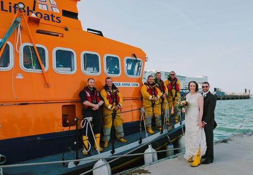 RNLI volunteers Rory Bolton and Dr Sarah Brookes on their wedding day