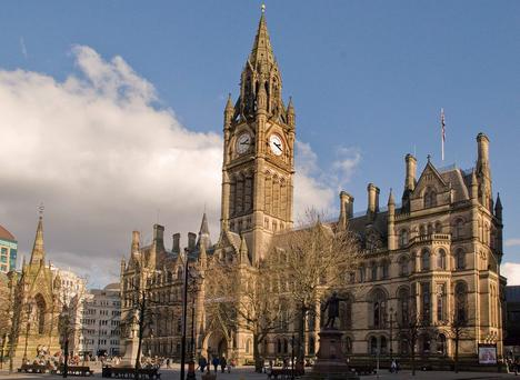 Manchester Town Hall in Albert Square, where the Iranian man presented himself and demanded to be deported